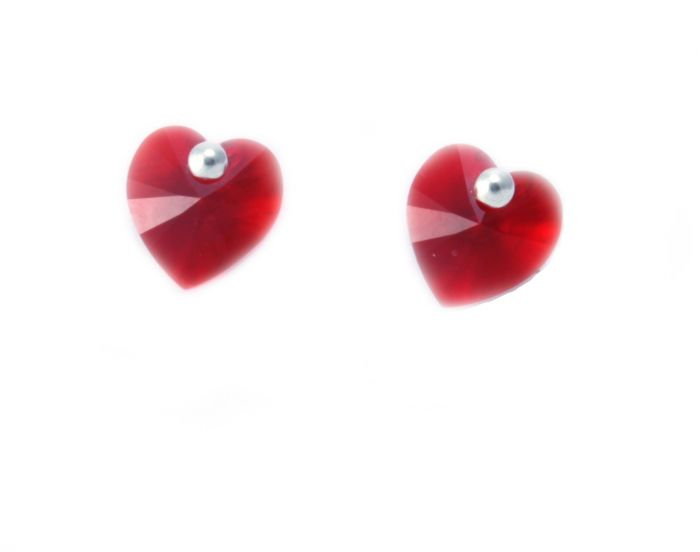 Swarovski Red Heart Stud Earrings