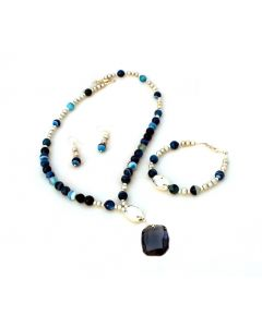 Blue Swarovski Crystal Necklace, Bracelet and Earring Set