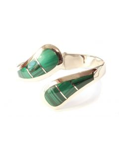 Heavy-Hinged Malachite Thumb Bracelet