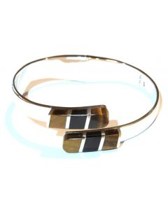 Heavy-Hinged Tiger Eye and Onyx Bracelet