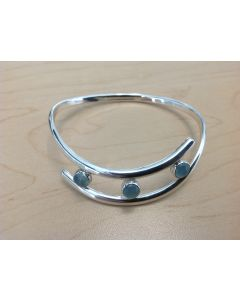 Sterling Silver Wave Aquamarine Bracelet