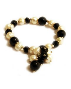 Onyx, Pearl, and Black Crystal Stretch Bracelet