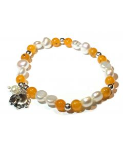Orange Agate, Pearl, Sheep Charm Bracelet