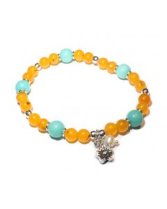 Orange Agate, Turquoise, Flower Charm Bracelet