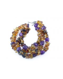Triple Amber and Amethyst Bracelet