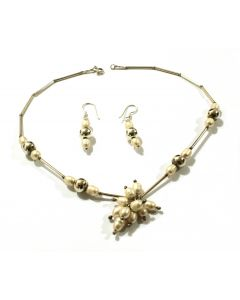 White Pearl with Sterling Silver Tubes and Spheres Necklace and Earrings set