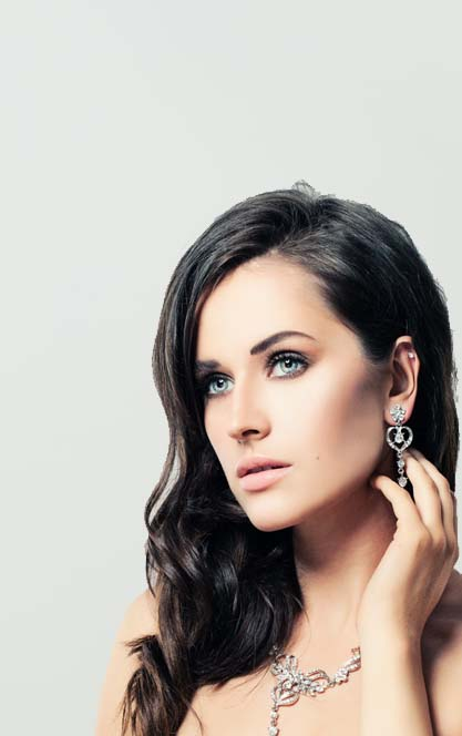 Beautiful woman with sterling silver earrings