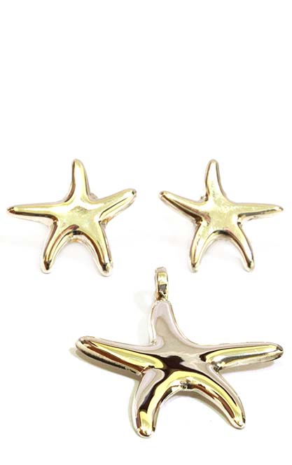 sterling silver starfish earring and pendant set